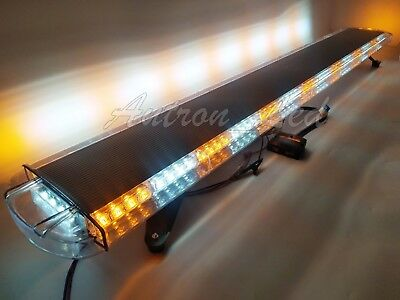 63In 120 LED Warn Emergency Truck Wrecker Response Amber White Strobe Light Bar