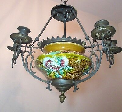 antique ornate French majolica pottery bronze electric chandelier candle holder