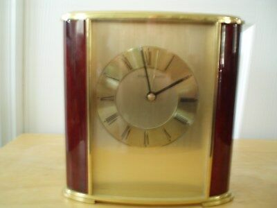 Stuart-Austin Battery Operated Wood Brass Desk- Mantle -Table Clock Works Great
