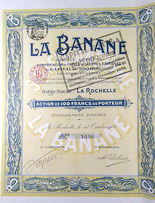 LA BANANE LA ROCHELLE 1908 - ACTION DE 100 FRANCS - FRANCE - Bond