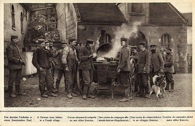 .Vintage Picture German Army Kitchen in French Village