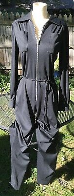 VTG 70s Womens Jumpsuit Black Romper Rhinestone Zip The Collection Long Wide Leg