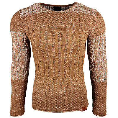 454bf8d68a7a9 Subliminal Mode - Pull homme col rond - Tricot grosse maille - Col a ras du