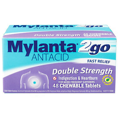 * Mylanta 2Go Antacid Double Strength 48 Tablets Indigestion & Heartburn Relief
