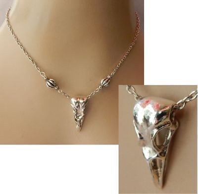 Necklace Raven Skull Pendant Bird Crow Silver Jewelry Chain Handmade Viking NEW