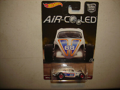 Hot Wheels Air-Cooled White Custom Volkswagen Beetle w/Real Riders RARE FREE SHP
