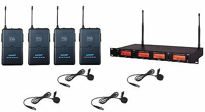 4 -Channel UHF Lavalier Tie Clip on Microphone Wireless Lapel Microphone System