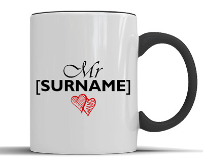 Personalised 'Mr' Surname Love Hearts Gift - Two-Tone Ceramic Mug