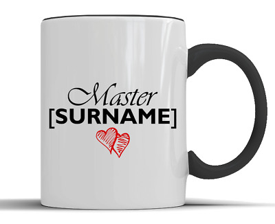 Personalised 'Master' Surname Love Hearts Gift - Two-Tone Ceramic Mug