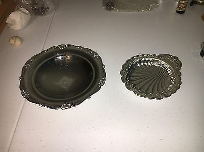Vintage Raised Silver Plated Bowl With Feet And Scalloped Tray New In Box