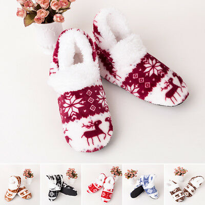 Christmas Winter Warm Plush Floor Socks Women Casual Shoes Booties Slippers