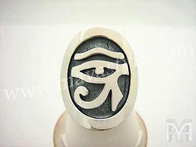 Sterling Silver Eye of Horus Ring Ra Egyptian Egypt Udjat Wedjat Wadjet Goddess