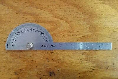 SAE Stainless Steel Rotary Protractor Angle  Gauge