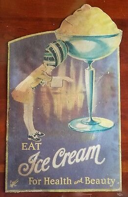 c1920's Eat Ice Cream For Health and Beauty Die-Cut Cardboard Advertising Sign