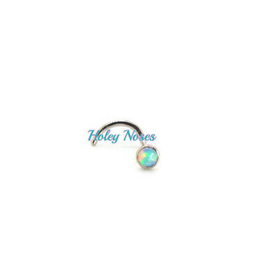 18ct White gold  2mm White Jelly Opal  nose stud ring pin bone Body jewellery