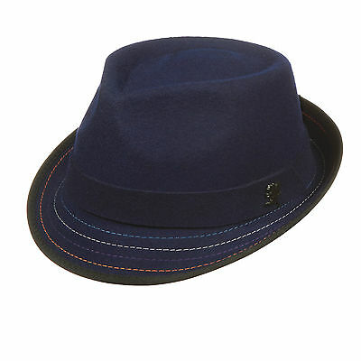 STACY ADAMS Men Fedora Navy hat Crushable Wool felt Satin Lining Contrast  stitsh 5b1a6cc78a49