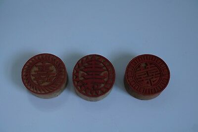3 Large Chinese Republic period wood stamps seal .