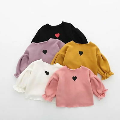 Toddler Infant Baby Kids Girls Flare Puff Sleeve T-Shirt Solid Color Tops Blouse