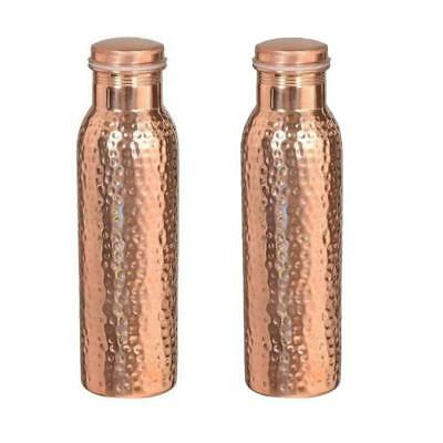 2X Hammered Joint free Handmade Pure Copper Water Bottle 1000 ML HEALTH BENIFITS