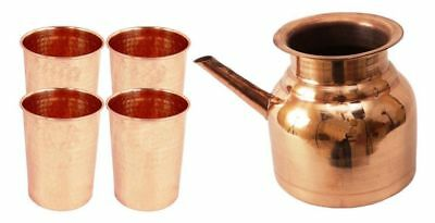 Copper Handmade Ramjhara with 4 hammered Glass Set Tumbler drink water yoga fs