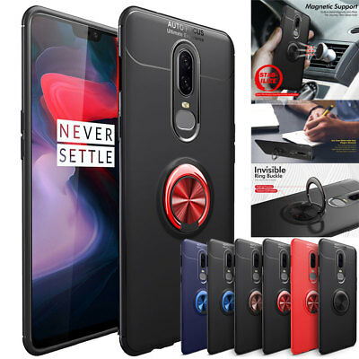 Ring Holder Stand Case for OnePlus 6 6T Slim Shockproof Rubber Bumper Cover Skin
