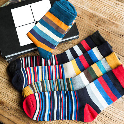 Men's colorful Autumn Fashion color striped so socks in tube casual cotton socks