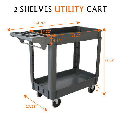 Plastic Utility Service Cart 550 lb Capacity 2 Shelf Rolling Portable Trolley
