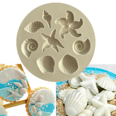 Beach Sea Shells Silicone Fondant Mould Cakes Seashell Starfish Decorating Molds