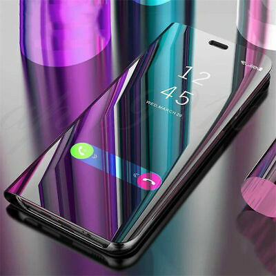For OnePlus 6T 6 5T Smart APP Shockproof Clear View Mirror Stand Flip Case Cover