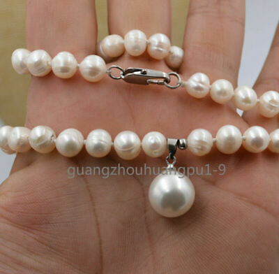 "new 7-8mm White Akoya Cultured Pearl & Shell Pearl Pendant Necklace 18""AA"