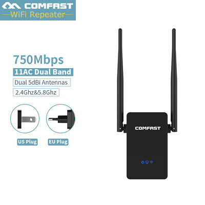 750Mbps Dual-Band 2.4 / 5.8 g Wireless Repeater 802.11 AC WiFi Range Extender