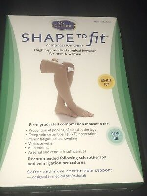 Dr Comfort Shape To Fit Compression, Unisex 20-30 Thigh High XL Beige Open Toe