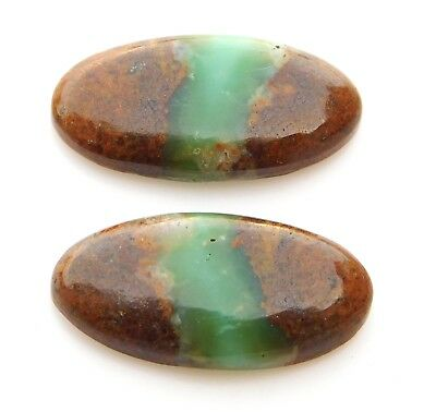 18.00Ct Pair Natural Chrysoprase Cabochon Loose Gemstone Oval 12X23 MM B233