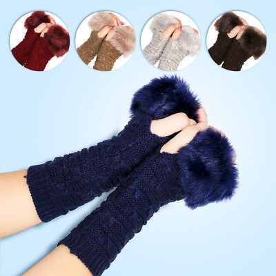 Women Faux Fur Fingerless Half Hand Winter Indoor Knitting Gloves Mitten Smart