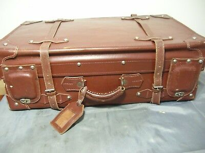 Vintage Quality Thick Leather Suitcase With Rare Latch Covers Large Vgc - Retro