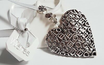 "Stunning Silver ""Love"" Heart Bridal, Wedding, Good Luck Charm, Gift, Keepsake"