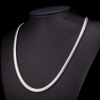 """Silver Tone 4-10mm Snake Chain Link Men Women Stainless Steel Necklace 21.62"""""""
