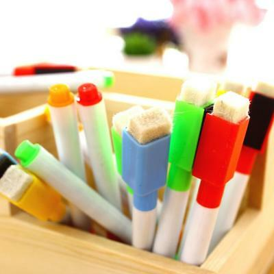 HOT 8PCS Magnetic Built In Erase Dry Wipe White Board Markers Magnet Pen #E99X