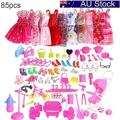 85PCS Outfits Clothes Set 10x Mini Dress & 75x Accessories for Barbie Dolls Toy