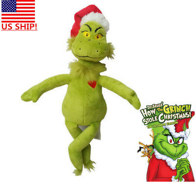 """US! Dr Seuss How the Grinch Stole Christmas with Santa Hat 15"""" Plush Toys Xmas"""