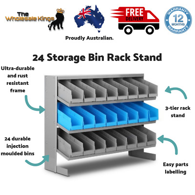 24 Bin Storage Shelving 3-tier Rack Stand Workshop Garage Tools Organiser