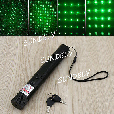 New 532nm Green Laser Lazer Pointer Pen Beam Light Adjustable Focus Star Cap UK