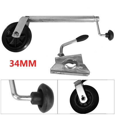34MM Jockey Wheel With Clamp - Telescopic Plastic Rim Caravan Trailer UK