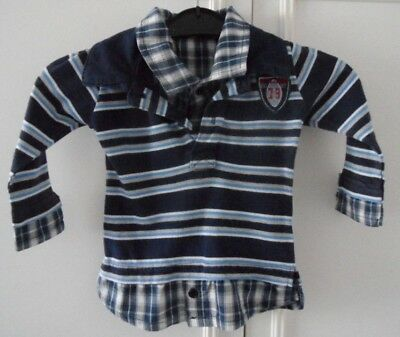 """""""LITTLE LEAGUE RUGBY PLAYER"""" BABY BOYS COTTON LONG SLEEVE SHIRT 6-9 mths,VGC"""