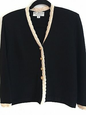 St. John Collection Marie Gray Wool Knit Jacket Black W Ivory Scallop Border 6