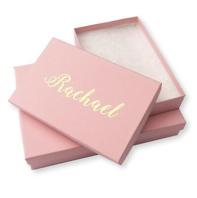 Personalised Pink Jewellery Gift Boxes Silver / Gold Foil Necklace Bracelet Ring