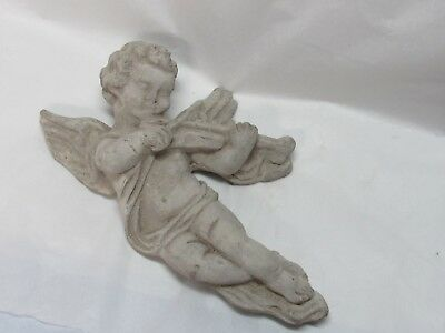 Vintage Cement Concrete Angel Cherub Wall Hanging Plaque Garden Art Old