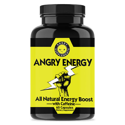 Angry Supplements Angry Energy All-Natural Energy Booster Caffeine Pills (60ct)
