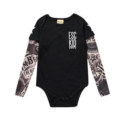 Baby Boy Girl Romper Cotton Infant Jumpsuit Fake Tattoo Sleeve Cool Newborn UK