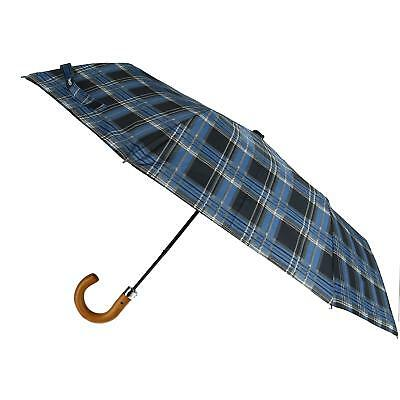 New Sophos Auto Open Plaid Checkered Compact Umbrella with Hook Handle